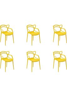 Kit 06 Cadeiras Allegra Amarela Rivatti - Tricae