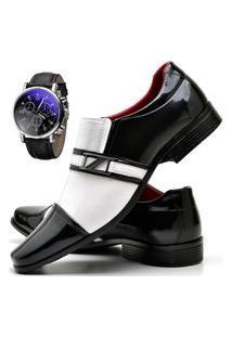 Sapato Social Masculino Com E Sem Verniz Db Now Com Relógio Dubuy 820Od Branco