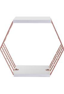 Cubo Hexagonal Com Prateleiras Decorativo- Ros㪠Gold & Bmetaltru