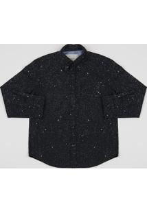Camisa Infantil Estampado Manga Longa Preta