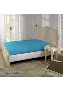 Lençol Com Elástico Queen Size- Azul- 40X158X198Cmblepper