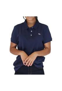 Camiseta Feminina Gola Polo Tommy Jeans Básica Azul