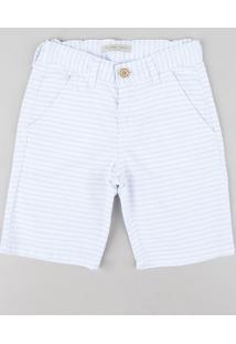 Bermuda Color Infantil Slim Listrada Branca