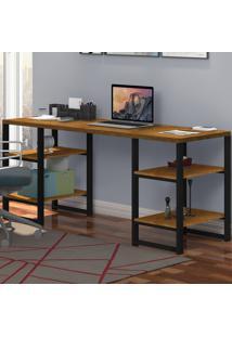 Mesa Para Computador Innovare 4 Prateleiras Preto/Canela/Rústico - Art Panta