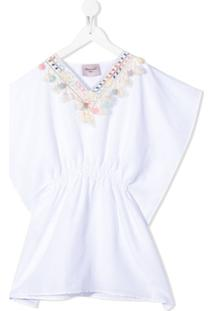 Mariuccia Milano Kids Vestido Kaftan Com Bordado - Branco
