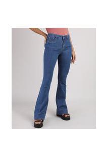 Calça Jeans Feminina Sawary Flare Cintura Média Azul Escuro