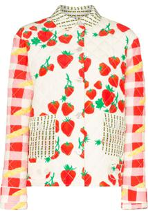 Helmstedt Strawberry-Print Quilted Cotton And Silk-Blend Jacket - Neutro