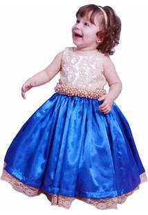 Vestido Infantil Liminha Doce Dourado E Azul