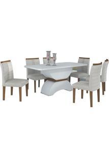 Mesa De Jantar Alemanha 6 Cadeiras Branco - Imbuia Mel / Linho Marrom
