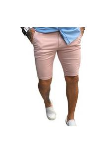 Bermuda Masculina Alfaiataria Rosê Skinny - Zip Off Rosa