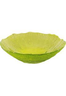 Saladeira Dunya De Vidro Verde 17Cm - Infinity Amarelo