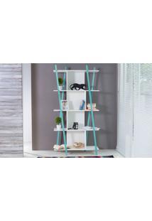 Estante Branca Pequena Para Quarto/Sala Design 5 Prateleiras E Nichos Moderna Mdf E Madeira Cor Azul Sue Woodinn 90X38X180 Cm