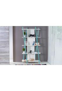 Estante Pequena Branca 5 Prateleiras Com Pés De Madeira Cor Azul - Sue 90X38X180 Cm