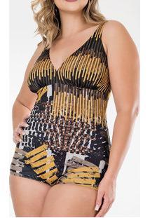 565bdff686de1 Maiô Feminino Estampado Plus Size Banho De Mar