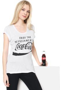 Camiseta Coca-Cola Jeans Aplicação Branca