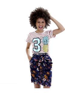 Camiseta Listras Abacaxi Petite Vickttoria Vick Plus Size Vermelho