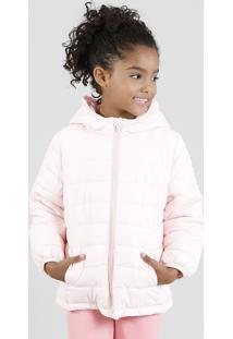 Jaqueta Infantil Puffer Com Capuz Rosê