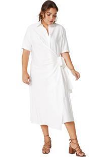 Vestido Midi Viscose Transpassado Com Amarração