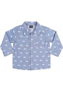 Camisa Infantil Para Menino - Azul Claro