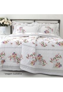 Edredom Santorini Floral Solteiro - Branco & Rosa Claro