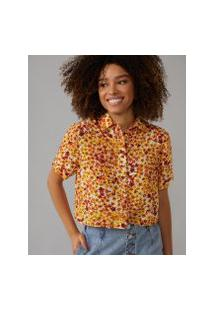Amaro Feminino Camisa Manga Curta Viscose, Daisy Flowers