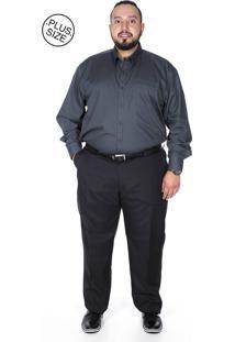 Calça Social Plus Size Bigshirts Oxford Preta 83f273c2a80ed