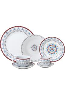 Aparelho De Jantar De Porcelana Super White Mandala Wolff – 42 Peças