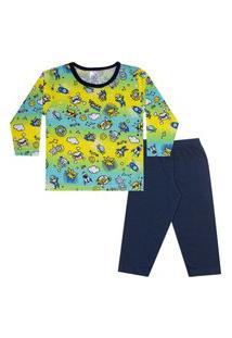 Conjunto Pijama Menino Em M/Malha Camiseta Rotativa Omg Amarelo E Calça Marinho - Liga Nessa