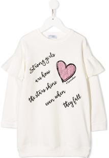 Monnalisa Vestido Com Aplicação De Coração - Branco