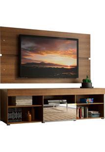 Rack Com Painel Para Tv Até 65 Polegadas Madesa Dublin 1 Porta Com Espelho - Rustic