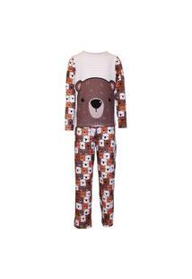 Pijama Masculino Manga Longa E Calça Isabb Urso Marrom