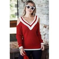 120d6b5345691 Blusa Tricot Decote V Ombro Vazado Vermelha