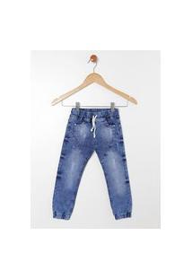 Calça Jeans Jogger Infantil Para Menino - Azul