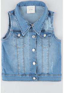 Colete Jeans Infantil Com Strass Azul Claro