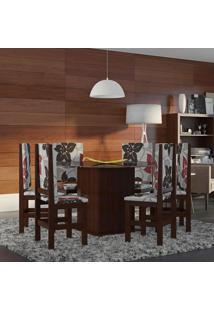 Conjunto De Mesa Com 6 Cadeiras Otávio Tabaco E Floral