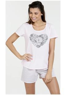 8c92a41a2 Pijama Feminino Short Doll Estampa Floral Marisa