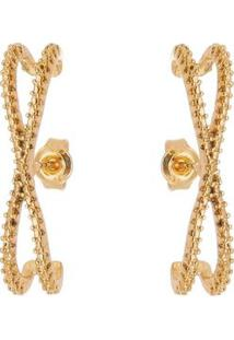 Par De Brincos Folheado A Ouro Texturizado- Dourado-Isabela Borgonian