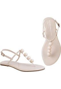 Rasteira Flat Bolinhas Mercedita Shoes Confortável Dia A Dia Casual - Feminino-Off White