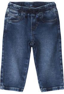 Calça Azul Jogging Em Malha Jeans