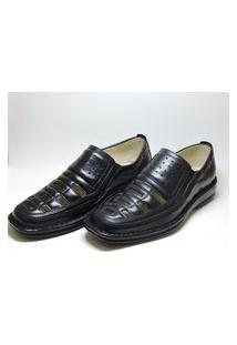 Sapato Masculino Vazado Em Couro Preto Italeoni
