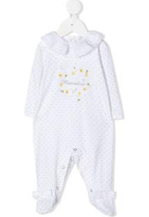 Monnalisa Pijama Com Bordado De Poás - Branco