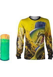 Camisa + Máscara Pesca Quisty Majestoso Dourado Do Mar Amarelo Proteção Uv Dryfit Infantil/Adulto
