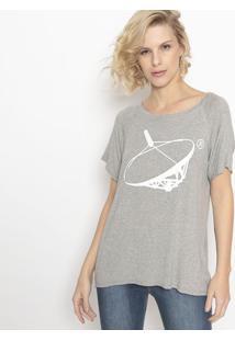 Camiseta Mescla Com Recortes- Cinza & Branca- Canalcanal