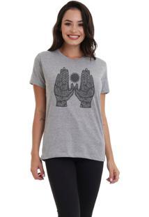 Camiseta Feminina Joss Hands Cinza Mescla Dtg