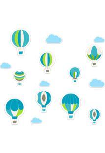 Adesivo De Parede Infantil Balões Azul E Verde - Tricae
