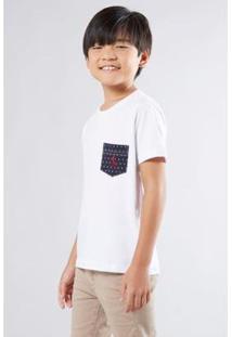 Camiseta Infantil Malha Branca Bolso Reserva Mini Masculina - Masculino-Branco