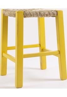 Banquinho De Palha Pestre Amarelo - 36X36X47 Cm