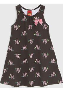Vestido Kyly Infantil Gatinho Marrom/Rosa