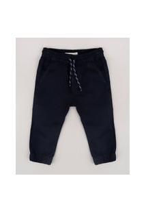 Calça De Sarja Infantil Jogger Com Bolsos Azul Marinho