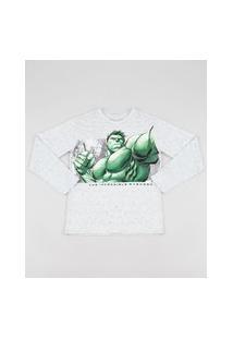 Camiseta Infantil Hulk Manga Longa Cinza Mescla Claro